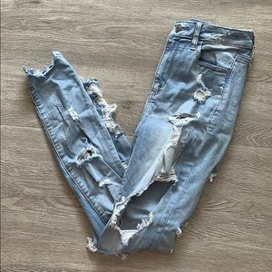 American Eagle Super Distressed Skinny Jeans